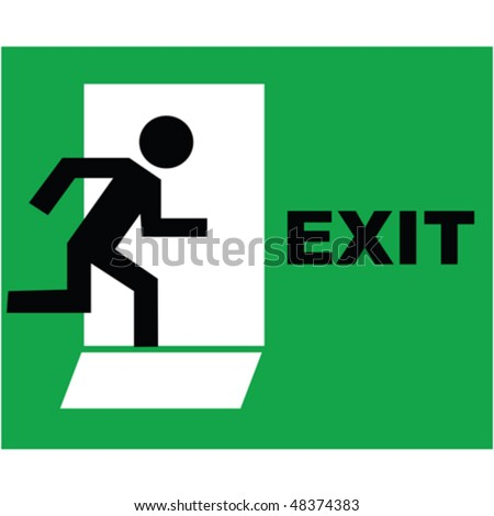 Emergency exit sign icon - stock vector