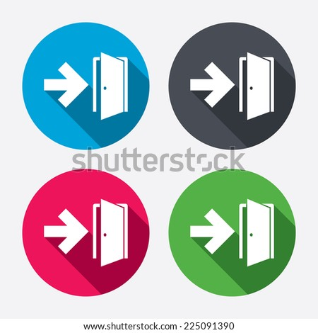 Emergency exit sign icon. Door with right arrow symbol. Fire exit. Circle buttons with long shadow. 4 icons set. Vector - stock vector