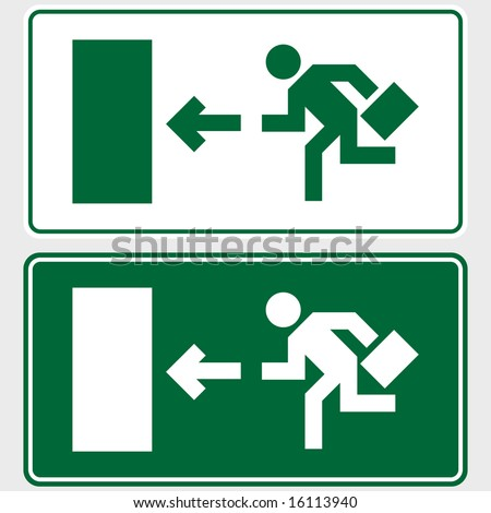 Emergency exit sign with business man figure holding a briefcase - stock vector