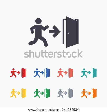 Emergency exit with human figure sign icon. Door with right arrow symbol. Fire exit. Colored flat icons on white background. - stock vector