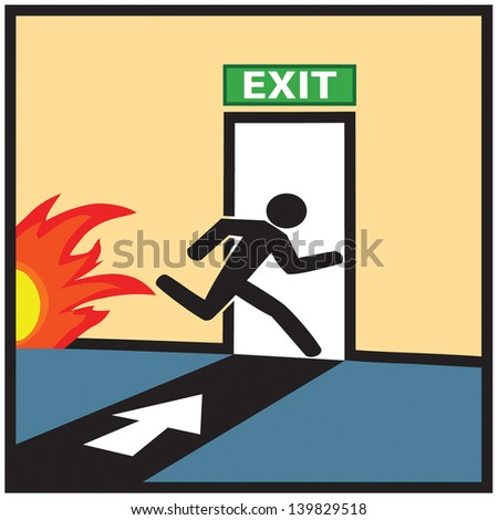 Emergency fire exit door and exit door sign - stock vector