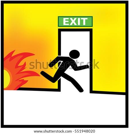 Emergency Fire Exit Door Exit Door Stock Vector 139829518 ...