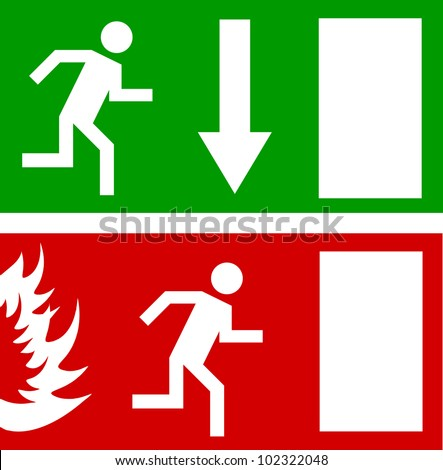 Emergency fire exit door and exit door, vector sign - stock vector