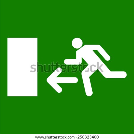 Emergency fire exit door vector - stock vector