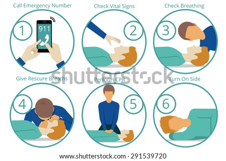 Emergency first aid cpr procedure. Health and medical, life and emergency,  reanimation and rescue. Vector illustration - stock vector