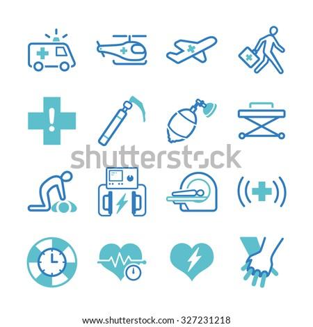 Emergency icons set - stock vector