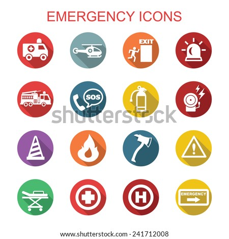 emergency long shadow icons, flat vector symbols - stock vector