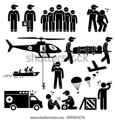 Emergency Rescue Team Stick Figure Pictogram 289004276 on rescue helicopter