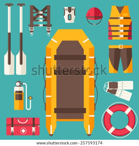 emergency service paramedic lifeguard equipment tools. On flat style background concept. Vector illustration for colorful template for you design, web and mobile applications - stock vector