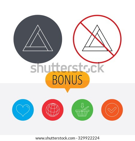 Emergency sign icon. Caution triangle sign. Shopping cart, globe, heart and check bonus buttons. Ban or stop prohibition symbol. - stock vector