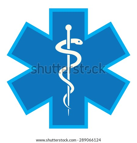 Emergency star - medical symbol caduceus snake with stick - stock vector