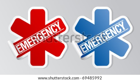 Emergency stickers set. - stock vector