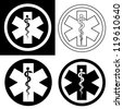 Emergency Symbol in Black & White - stock photo