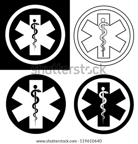 Emergency Symbol in Black & White - stock vector