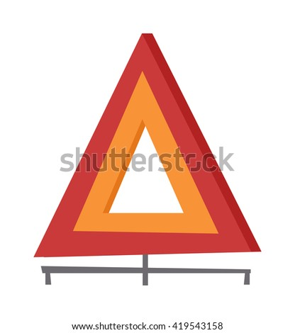 Emergency warning triangle vector and emergency triangle accident red sign. Safety traffic road emergency triangle and warning vehicle emergency triangle. Travel failure trouble emergency triangle. - stock vector