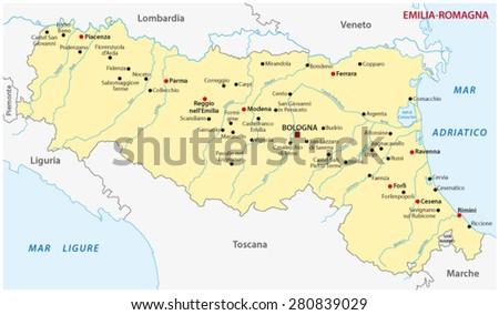 Emiliaromagna Map Stock Vector 280839029 Shutterstock
