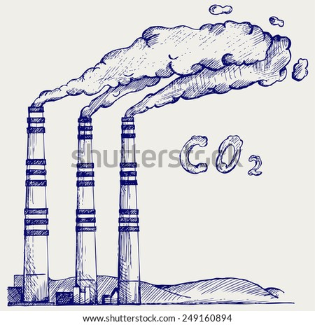 Emission from coal power plant. Co2 cloud. Doodle style - stock vector