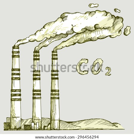 Emission from coal power plant. Co2 cloud. Vector Image - stock vector