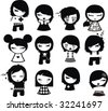 Emo characters - stock vector