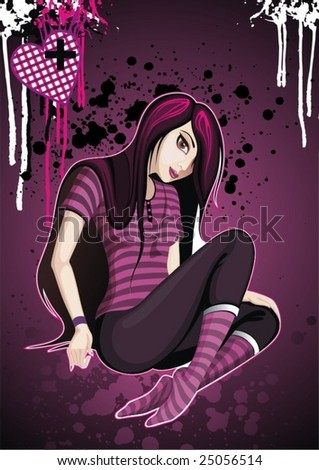 emo girl - stock vector