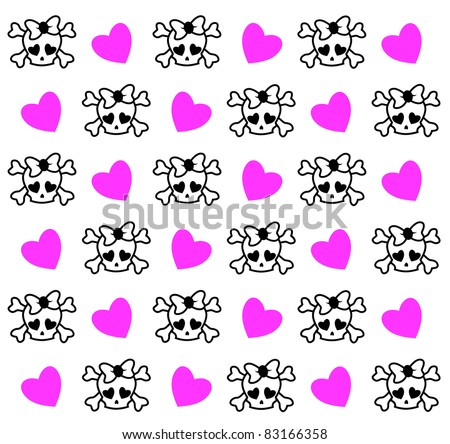 Emo skull background - stock vector