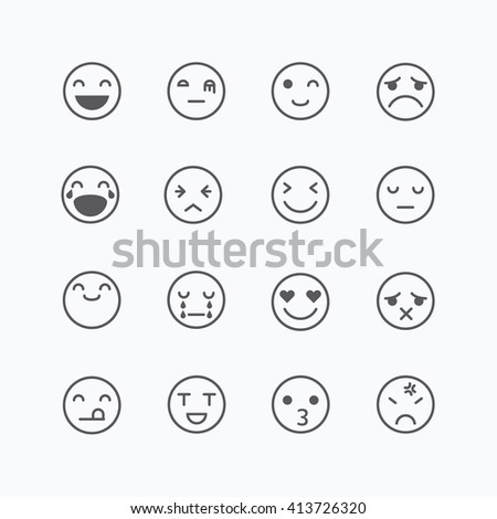 Emoji avatar collection set, emoticons isolated icons flat line design on white background, vector illustration. - stock vector
