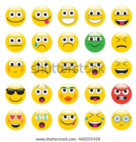 emoji. emoticons smile icon set. isolated vector illustration on white background