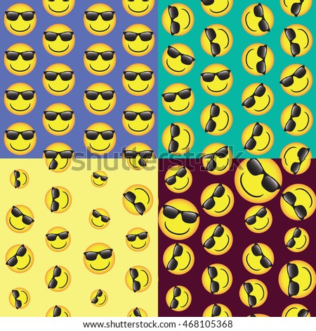 emoji. emoticons smile icon set. vector seamless pattern. funny illustration