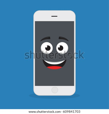 Emoji smartphone funny emotion on bright stock photo photo vector emoji smartphone with funny emotion on bright background smiling mobile phone character smile emoticon voltagebd Images