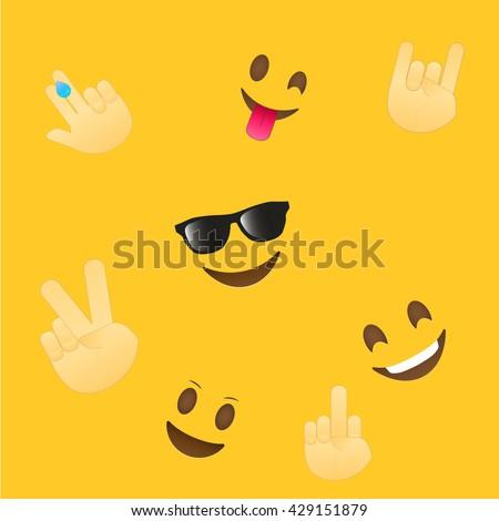 Emoji wallpaper emoticons seamless pattern emoji stock vector emoji wallpaper emoticons seamless pattern emoji faces and emoji hand icons on white background altavistaventures Image collections