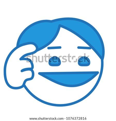 emoji guy doing finger temple gesture stock vector royalty free