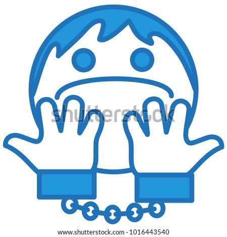 emoji handcuffed man showing his hands stock vector royalty free