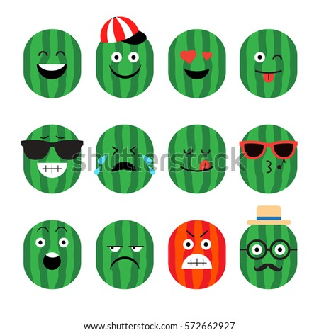 emojis. watermelon. fruit. summer. Set of emotional  face on a white background. Flat vector emoticons. Set vector smiley. Characters smiley