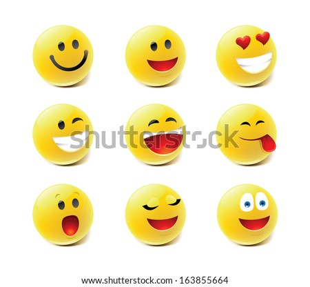 Emote icons  - stock vector