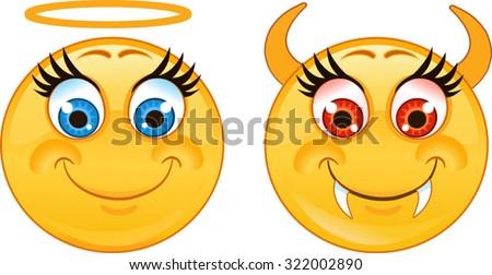 Emoticon angel and devil smiley - stock vector
