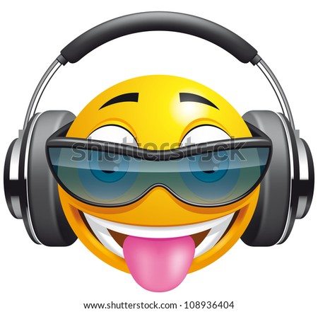 Emoticon DJ (EPS 10,includes transparency,mesh and blends) - stock vector
