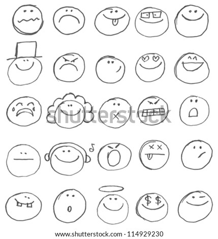 Emoticon doodles set. Vector hand drawn - stock vector