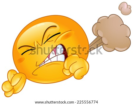 Emoticon farting - stock vector