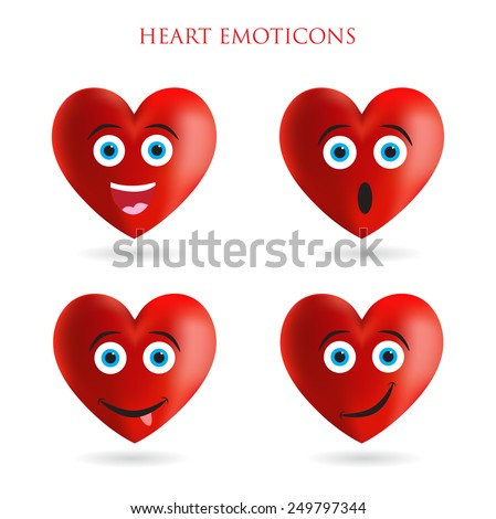 Emoticon hearts.Vector set of hearts. - stock vector
