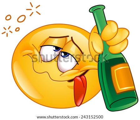 Emoticon holding an alcoholic drink bottle - stock vector