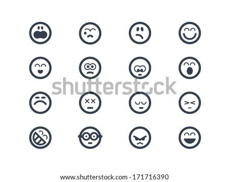 Emoticon icons - stock vector