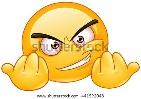 Emoticon inviting to fight. Emoticon showing opened fists to beckon someone to engage in a fight. - stock vector
