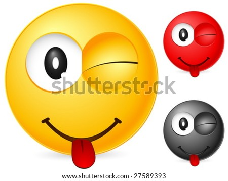 Emoticon isolated on white background. Vector illustration. - stock vector
