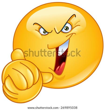Emoticon laughing evilly and wringing his hands - stock vector