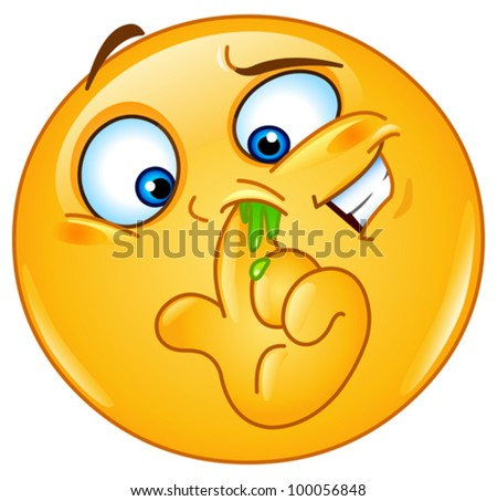 Emoticon picking his nose - stock vector