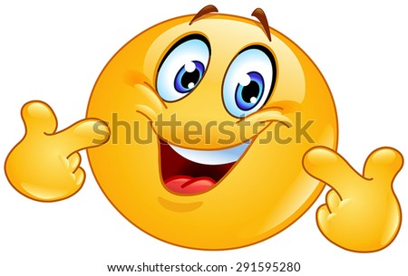 Emoticon pointing at himself with both hands. Pick me - stock vector
