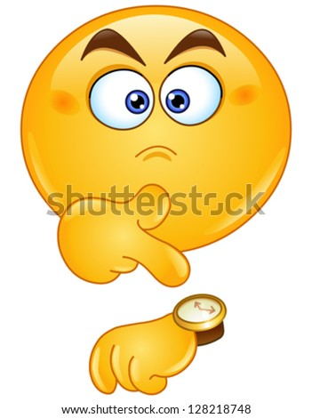 Emoticon pointing at watch - stock vector