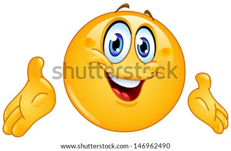 Emoticon presenting with his hands - stock vector