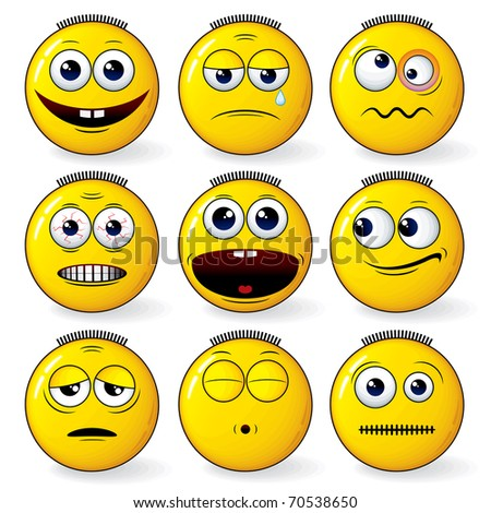 Emoticon - set of cool yellow smileys expressions - detailed vector - stock vector