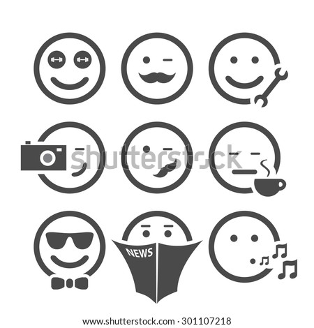 Emoticon Set with Different Faces - stock vector